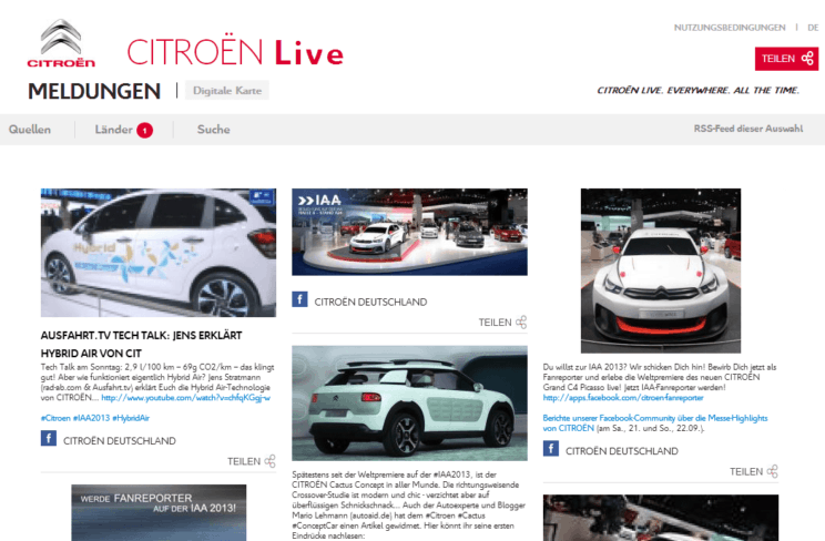 Social Communication mit Aggregation: Mercedes-Benz und Citroën